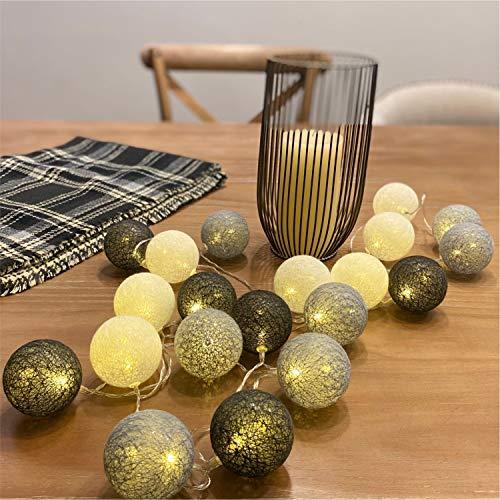 Guirlande lumineuse LED blanche de Noël - Guirlande lumineuse étoilée - Pour mariage, fête, décoration de Noël - 3,1 m - 20 boules de coton (gris, piles)