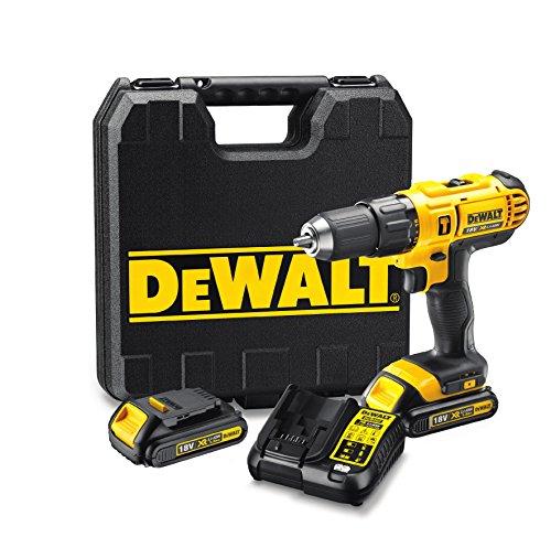 DEWALT DCD776C2-QW - Taladro percutor XR 18V, 25.500 ipm, incluye 2 baterías Li-Ion 18V (1.3Ah), cargador y maletín