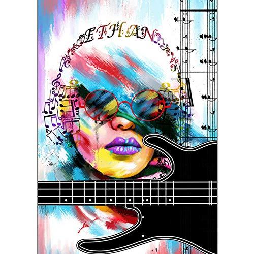 DIY 5D Kit de Pintura de Diamante,Mujer con notas musicales Kits de pintura de punto de cruz diamante para Adultos y niños rhinestone bordado diamante arte,regalo de decoración del hogar 40x50cm