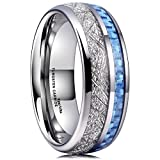 King Will Meteor 8mm Mens Tungsten Carbide Wedding Ring Imitated Meteorite Blue Carbon Fiber Inlay Comfort Fit(12)