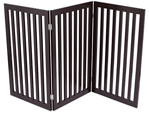 Internet's Best Traditional Pet Gate - 3 Panel - 36 Inch Tall Fence - Free Standing Folding Z Shape Indoor Doorway Hall Stairs Dog Puppy Gate - Espresso - MDF