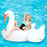 Kurala Giant Swan Inflatable Ride-On Pool Float, with 4 Fast Valves, Pool Raft Lounge for Kids Adults, 73 x 73 x 45 inches