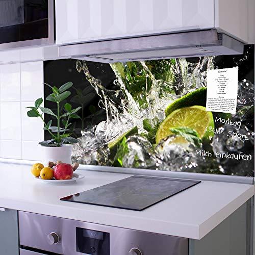 banjado Glas Spritzschutz für Küche und Herd | Küchenrückwand mit Motiv Brasilianischer Cocktail | Glasrückwand selbstklebend ohne Bohren | Küchenspiegel magnetisch und beschreibbar (100x50cm)