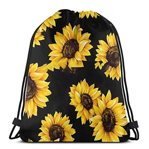 AEMAPE Sun Flowers Floral Pattern - Yellow Flower Stylish Backpack Cinch Sack String Travel Drawstring Bag Storage Pouch Women Girls Kids Gifts 36x43 cm