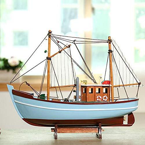 ZH DIY Madera Barcos Modelo Velero Naves Decoración del Hogar Tema Marino Hecho A Mano Artesanía Regalo De Cumpleaños Barco De Pesca De Simulación 40X12x32.5Cm,Azul
