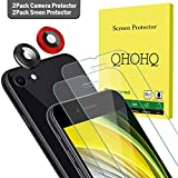 QHOHQ 2 Pack Screen Protector for New iPhone SE 2020 (4.7 inch) with 2 Pack Camera Lens Protector, Tempered Glass Film, 9H Hardness- HD - 2.5D Edge - No White Edges - Anti-Fingerprint - Anti-Scratch