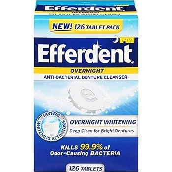 Efferdent PM Denture Cleanser Tablets Overnight Whitening 126 Count