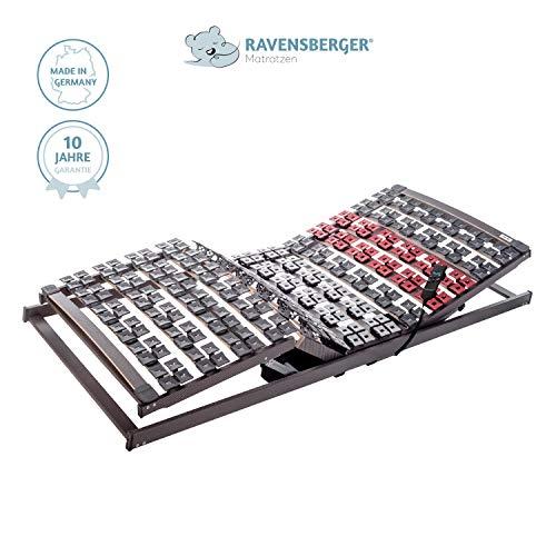 RAVENSBERGER VARIFLEX® 5-Zonen Buche Systemtellerrahmen | Elektrisch | 4-Fach Segmentteller-Federelementen | Made IN Germany - 10 Jahre GARANTIE | 80 x 200 cm | Kabel-Fernbedienung