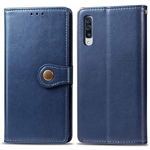 Happy-L Caso Samsung Galaxy A70, Funda Delgada de Cuero PU Premium PU con Estuche de Billetera de Cierre magnético Fuerte de Doble vía (Color : Blue)