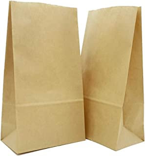 """KRAFTABLES Thick, Strong, Premium Brown Paper Bags, Lunch Bags, Lunch Sacks, Paper Sacks, Heavy Kraft Paper Bags, Treat Bags, Favor Bags, Craft Bags-Size 4 7/8""""x3""""x10""""- Pack of 100"""