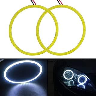 Everbright 2-Pack【 80MM, 3.15″,12V White Car Angel Eye 】 COB Light Halo Circle Ring Head Light Lamp for BMW Benz Headlight