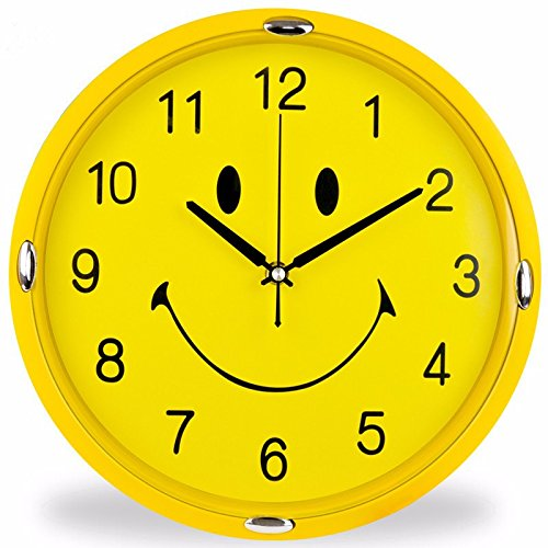 ZloveM Große Wanduhr Nicht Tickende Stille Dekorative Uhren Für Wohnküche Wohnzimmer Schlafzimmer Büro Moderne Quarzuhr 31 cm Gelb Smiley-Db
