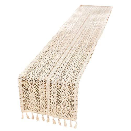 Yantan Elegante camino de mesa de macramé de color crema con borlas para decoración rústica de boda y casa rural.