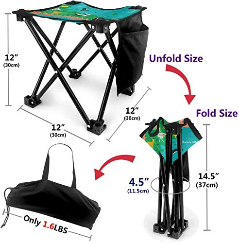 LLOOP Camping Stool Folding Argentina Map Animal Whale Portable Chair Camping Hunting Fishing Travel with Carry Bag