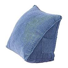 Almohada Triangular Trasera, Almohada de cuña de Soporte de Cama, cojín de Respaldo para sofá, Silla de Oficina, cojín para sofá para Adultos y niños (Azul)