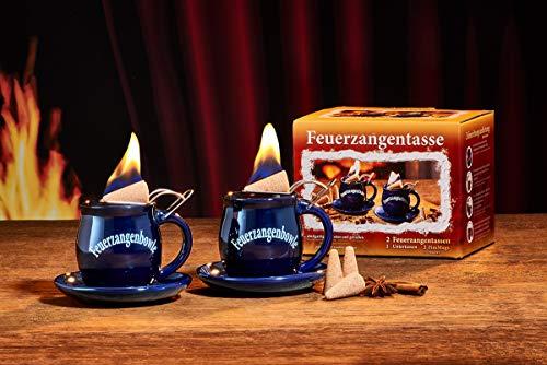 Feuerzangentasse 2er-Set, Blau, mit Rum - für Feuerzangenbowle