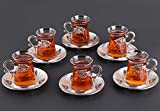 Luxury Turkish Tea Set with Saucers for 6 People - New Gold and Silver Tulip Flowered Design 12...