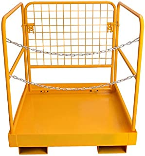 Forklift Safety Cage Work Platform - 36x36 Inch Heavy Duty 749 Lb Capacity Aerial Rails