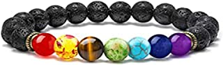 Personalized Mens Bracelet with Bead Chakra, 7 Chakras Healing Crystals Bracelet Aromatherapy Essential Oil Diffuser Lava Bracelet Gifts for Women