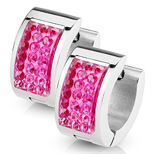 bungsa rosa claro pendientes Foursquare I acero inoxidable Huggies para las mujeres & hombres