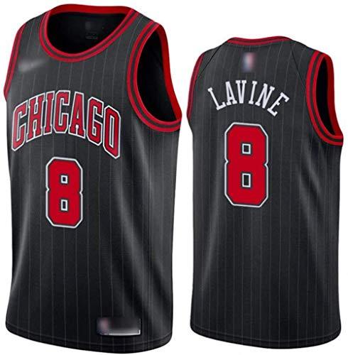 SYXBB-Lampe Baloncesto Masculino nº 8 Zach LaVine Camisetas de Baloncesto Chicago Bulls Los Aficionados de los Hombres clásicos Retro de la Camiseta de Baloncesto Jersey West Negro,M