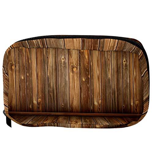 Bolsas de cosméticos con impresión de madera práctica bolsa de viaje Oragniser bolsa de maquillaje para mujeres y niñas