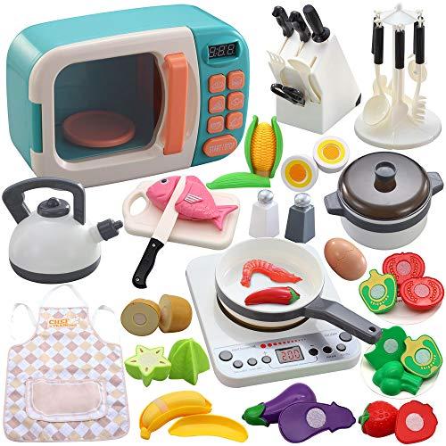 42 pcs de utensilios de cocina de juego de simulación, juguete para niños con microondas, placa de inducción electrónica, ollas y sartenes, juego para cortar Grandes regalos de aprendizaje para niños