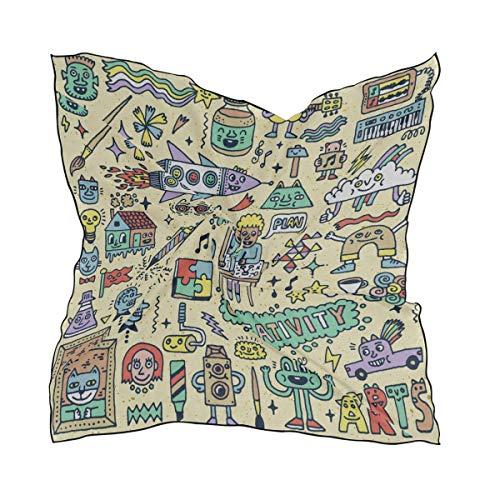Miedhki Frauen weichen Polyester Seide quadratischen Schal Klavier Vintage handgemalte musikalische Mode Druck Kopf Haarschal Halstuch Schals Acce