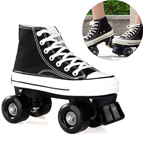 Pinkskattings@ Canvas Schlittschuhe Rollschuhe Für Damen Mädchen Roller Quad Skates Komfortables Und Atmungsaktives Mit Zweireihigem Rad Obermaterial Leinwand Rollschuhe,Schwarz,42