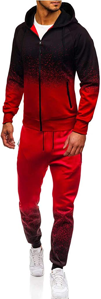 Mens 2 Pieces Autumn Winter Gradient Color Packwork Shirts with Elastic Drawstring Pants Casual Sports Tracksuit Set