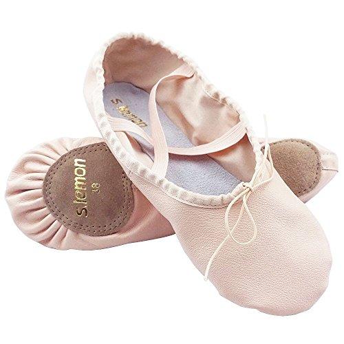 s.lemon Zapatillas de Ballet,Genuino Cuero Suela Partida Piel Danza Zapatos Calzado de Ballet para Niñas Mujer Pink 23