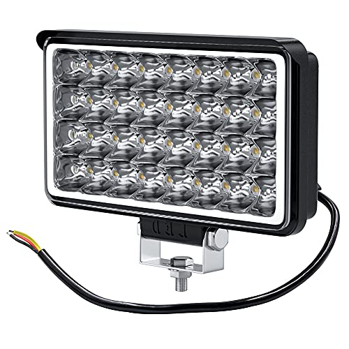 32W LED Luz de trabajo Offroad Reflector de luz de inundación Faros delanteros de trabajo Faros de trabajo Offroad Lámpara de marcha atrás para automóvil SUV UTV ATV 12-24V Cuadrado 5000-6500K
