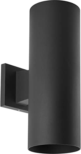 """Cylinder Collection 5"""" Modern Outdoor Up/Down LED Wall Lantern Light Black"""