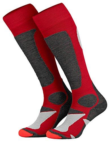 Piarini 2 Paar Unisex Skisocken Skistrumpf Herren, Damen und Kinder für Wintersport, Snowboard atmungsaktive Knie-Strümpfe Farbe Rot Gr.35-38