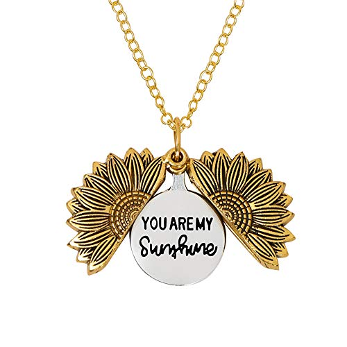 LIAOWY You are My Sunshine Engraved Necklace Sunflower Locket Necklace Pendant for Women Men Girls