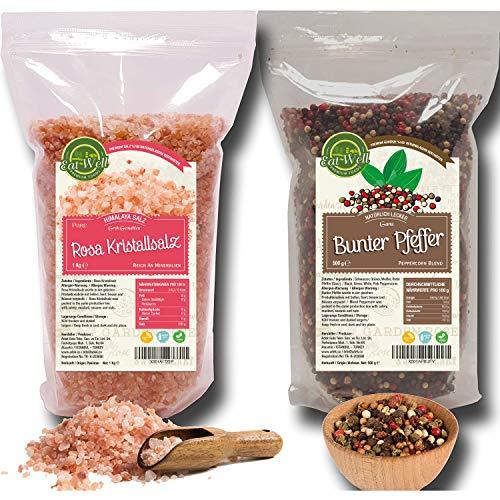 Bunter Pfeffer ganz 500g | Pfeffer bunt ganz | Rosa Kristallsalz (bekannt als Pakistan Salz) Steinsalz grob 2-5mm 1kg | geeignet für die Pfeffermühle • Schwarzer Weißer Rosa und Grüner Pfeffer