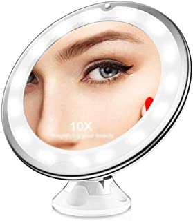 LLRYN LED Makeup Mirror 10 Times Magnifying Glass Beauty with Light Mirror with Suction Cup Bathroom Mirror