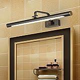 LANMOU Vintage Lámpara de Espejo LED Baño Negro, 4000K Blanco Neutro Lámpara de Baño Impermeabile IP44 de Cobre, Luces Gabinete de Espejo de Maquillaje Ajustable para Tocador, Lavabo,57cm/11w