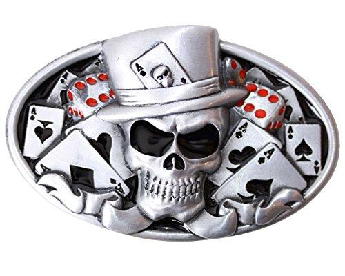 Gürtelschnalle Pokerface für Damen und Herren passend für Wechselgürtel mit einer Breite bis 4cm | Skull dead man's hand