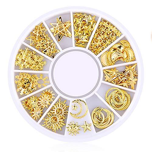 DIY-Mode-Nagel-Flecken - Ocean Nail Art Studs Gold Charms Sommer Sea Metal Alloy Nieten Shell Starfish Nagel Dekoration Kunst (D)