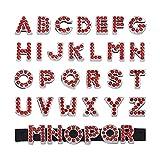 Cheriswelry 52 colgantes de diamantes de imitación con letras del alfabeto de la A a la Z, colgantes de cristal rojo para pulseras anchas, pulseras de cuero, gargantilla y agujero: 8 mm