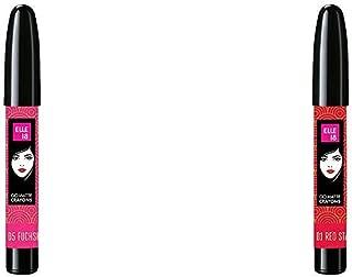 Elle 18 Go Matte Lip Crayons, 05 Fuchsia Burst, 2.2 g & Elle 18 Go Matte Lip Crayons, 01 Red Stay, 2.2 g