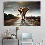 YuanMinglu Elefante Africano a Piedi Carta da Parati su Tela Poster d'Arte Pittura a Olio Stampa murale Camera da Letto per Bambini Camera da Letto Decorazione della casa Pittura Frameless 72x108 cm