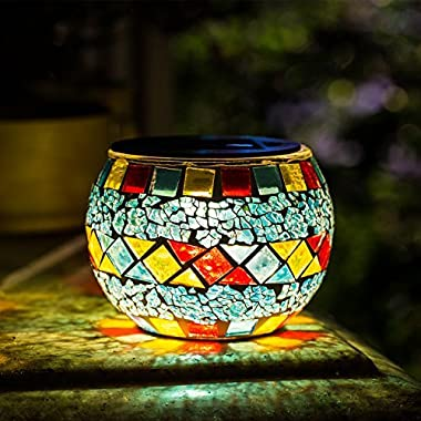Solar Mosaic Table Lights Kinna 2 Pack Solar Glass Ball Table Lamp Waterproof for Home, Garden, Patio Decoration Warm White,Style1