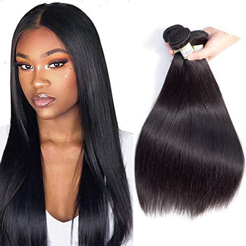 YiHan 8A Brazilian Virgin Hair Straight 3 Bundles Deals Weave Human Hair Extensions 100% Unprocessed Remy Human Hair Bundles Double Weave Wefts 300 Gram Natural Black Color 12 14 16 inches
