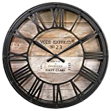 Reloj de péndulo mural estilo vintage - diámetro 39 cm - Color marrón cobrizo efecto envejecido