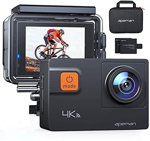 APEMAN Action Cam A80, 4K/30FPS 20MP WiFi Telecomando Impermeabile 40M 8XZoom Fotocamera Subacquea, Gyro Stabilizzazione Correzione della Distorsione Videocamera