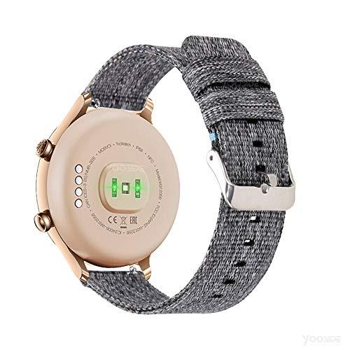 YOOSIDE Ticwatch C2 Gold Cinturino,18mm Quick Release Nato Cinturino in Nylon di Ricambio per Ticwatch C2 Gold,Fossil Donna Smartwatch FTW6012/FTW6015 (Grigio)