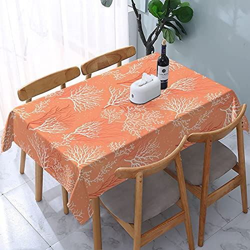 XIANGYANG Mantel Rectangular de corales Dibujados a Mano 54 X 72 Impermeable, Lavable, Reutilizable, Mantel para Mesa, para Comedor, Cocina, Picnic, decoración del hogar
