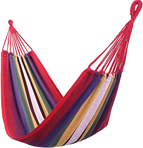 mickyshoes 78.74'' X 31.5'' Portable Polyester & Cotton Hammock Red Strip Indoor Outdoor Backpacking Survival & Travel, Portable